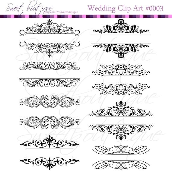Vintage Calligraphy Clip Art Clipart DIY Wedding Invitation Designs ...