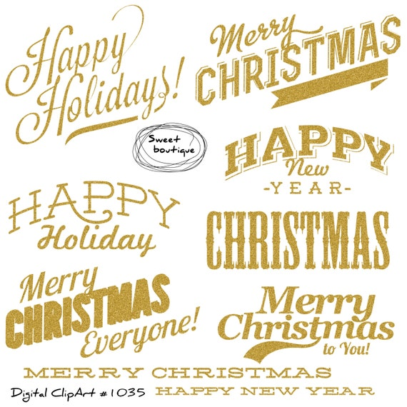 Glitter Christmas quotes Christmas clipart Christmas Text | Etsy