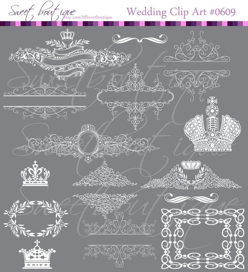 WHITE Silhouette Crowns Digital Clip Art Crown Frames Damask borders Monarch Images Digital Design Elements  0609 Queen Royalty Clipart