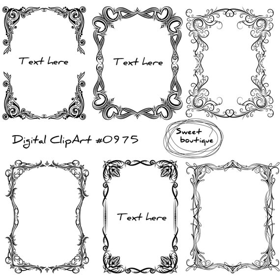 Flower Clip Art frames Frame Digital Digital cliparts   Etsy