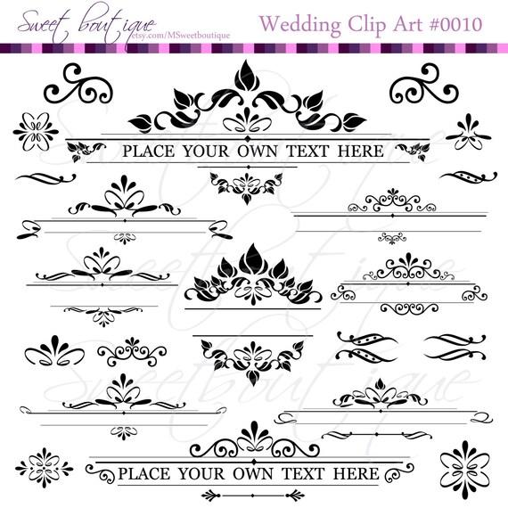 Text Dividers Digital Clipart Decoration Ornate Set | Etsy