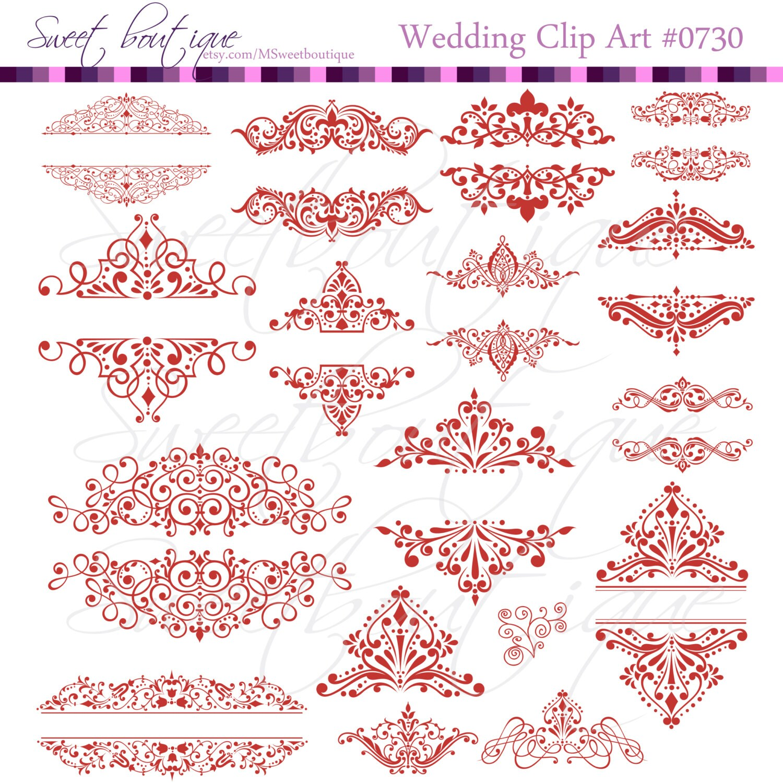 red wedding calligraphy clip art vintage clipart diy