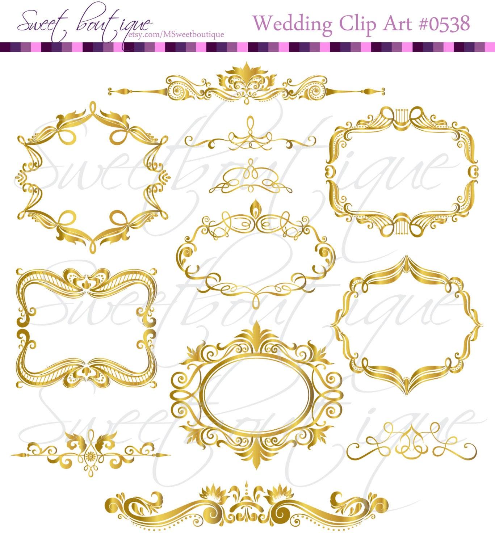GOLD Digital Frames Scrapbook Border Clipart Ornate Flourish   Etsy