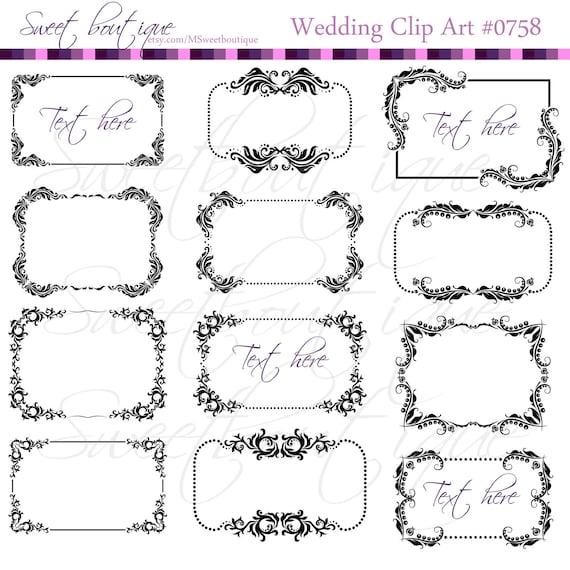 Calligraphy Clip Art frames - Frame Ornaments - Digital cliparts ...