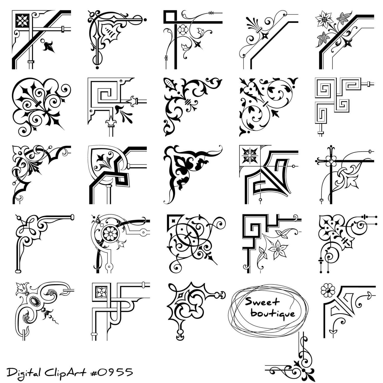 Corner Digital Clipart Calligraphy Border