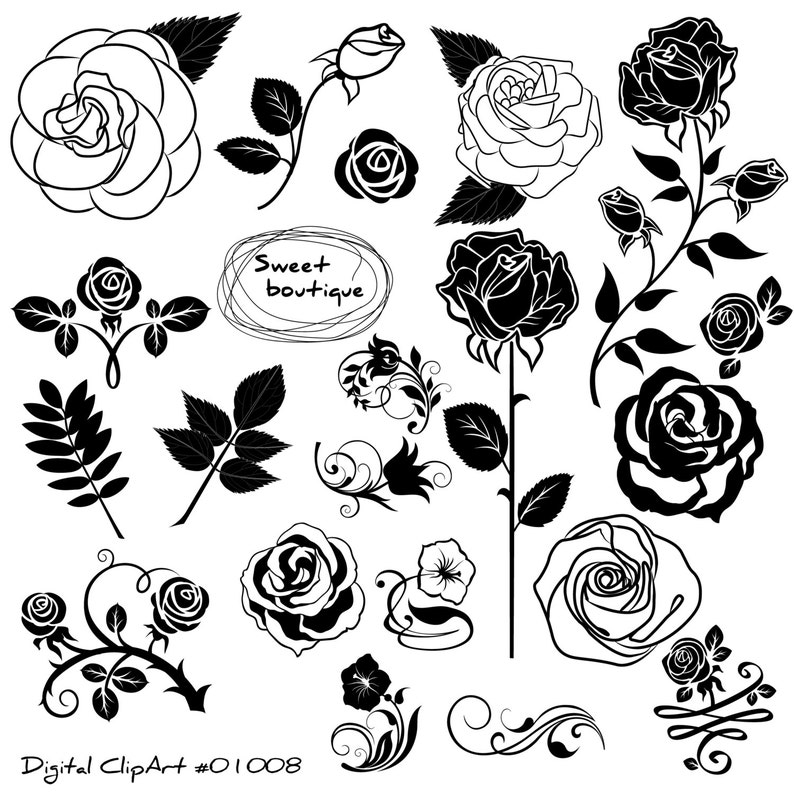 Rose Set Clipart Rose Flowers Clipart Floral Bouquet