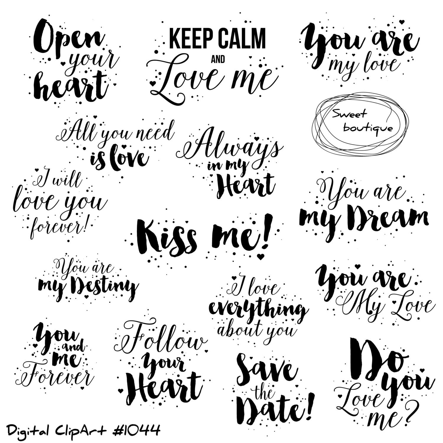 Love Clipart Love Quote Valentines Day Clipart Quotes Love Etsy