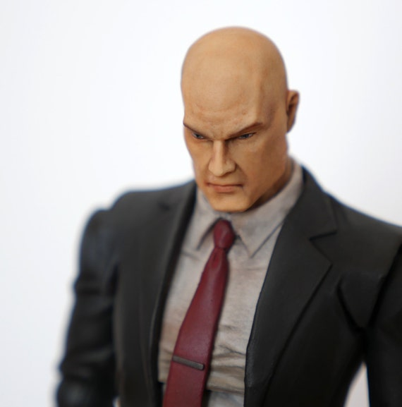 Hitman Agent 47 Play Arts Kai Custom Action Figure With Original Box And Silenced Silverballers