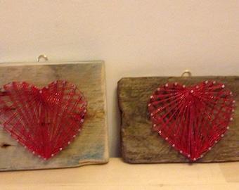 Driftwood heart hanging, string art