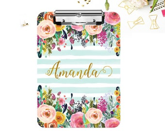 Monogrammed Clipboard, Personalized Clipboards, Personalized Teacher Gifts, Personalized Gifts for Teachers, Floral and Stripe Clipboard