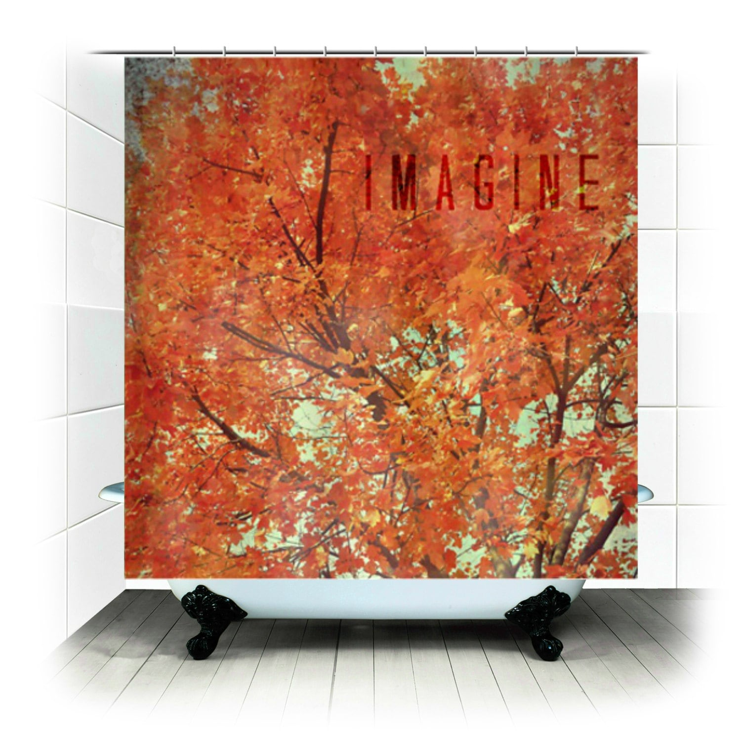 Shower Curtain Imagine - autumn, fall, orange, leaves, forest ...