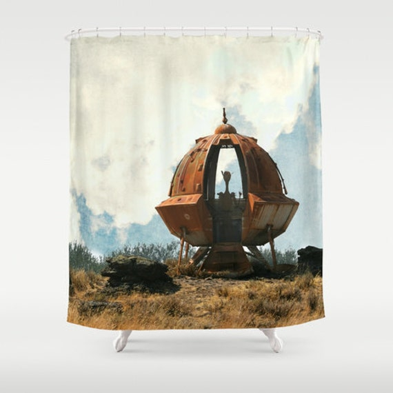 Shower Curtain Outta This World Alien UFO Flying Saucer