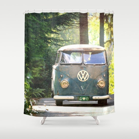 Fabric Shower Curtain Classic Retro VW Bus Camper Peace