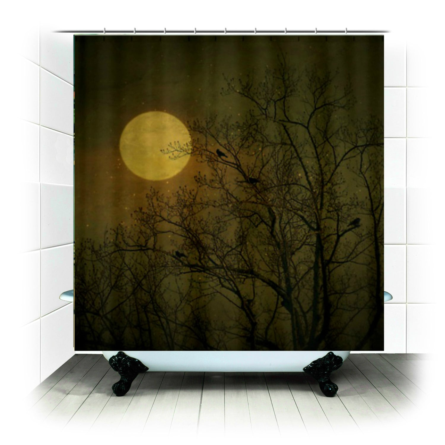 Fabric Shower Curtain Dark Night Birds Full Moon Stars