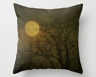 Dark Side - Fine Art Photography Throw Pillow, Nature, forest, birds, moon, woodland, home decor, gift, personalize, present,