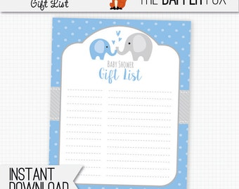 Baby Shower Gift List Blue Elephant