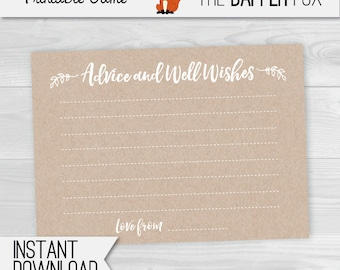 Beratung Karten Kraft Papier Baby Dusche   Printable U2013 Spieltipps Und Gut  Wünsche Minimalist Unisex Geschlecht Neutral Rustikal Für Junge Oder Mädchen