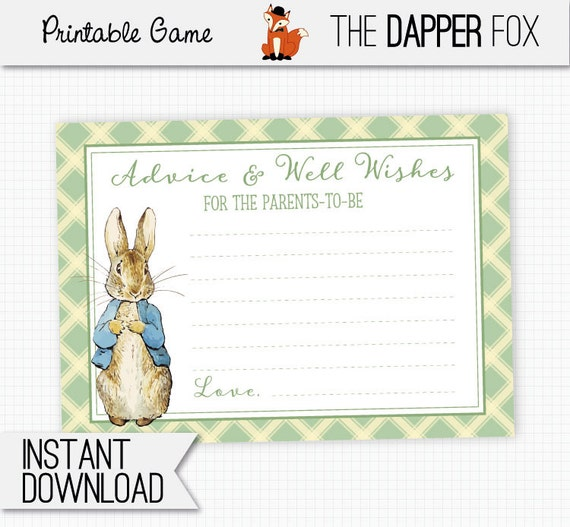 BABY SHOWER GAMES Personalised Prediction Cards UNISEX PETER RABBIT DESIGN