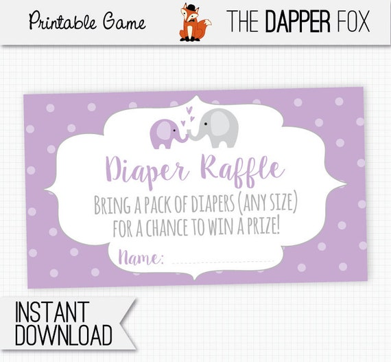 Diaper Raffle Purple Elephant Raffle Ticket Baby Shower Insert Card Printable Polka Dot Baby Girl Purple And Grey Cute Elephant