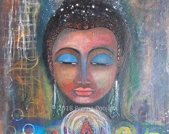 Original Buddha Painting on Canvas, Buddha Wall Art Home Decor, Zen Like Painting for office, Buddhist Art from India, Modern Buddha Art