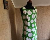 Vintage Marimekko Dress Short Sleeved dress Size 42 1960 Finland Green White Big Polka Dot, unique piece