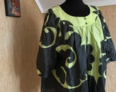 Vintage Marimekko Open Blouse Green Ornaments Size 44, flexible but fits up to Large 1990s Finland