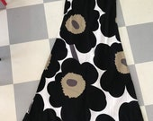 Vintage Marimekko Maxi Dress Black Unikko Flowers on White Size 42, Medium - Large Finland