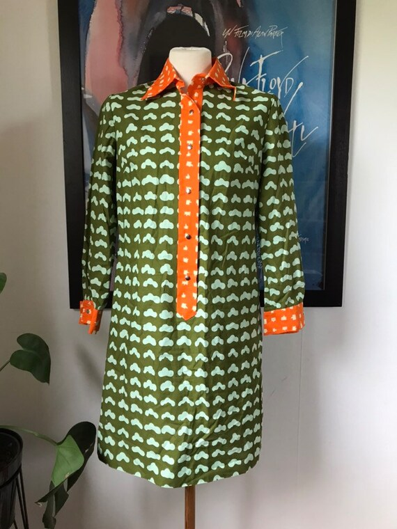 Vintage Marimekko Shirt Dress / Size 38, Small-Med
