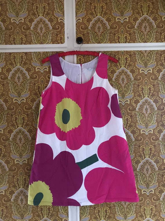 Vintage Marimekko Dress / Pink Purple Unikko Flowe