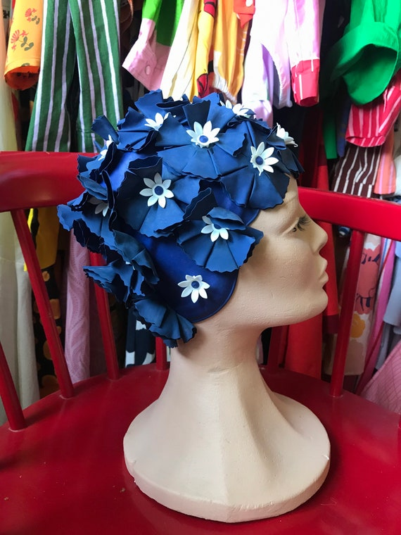 Amazing blue floral swim cap hat / 1950-60 Vintage