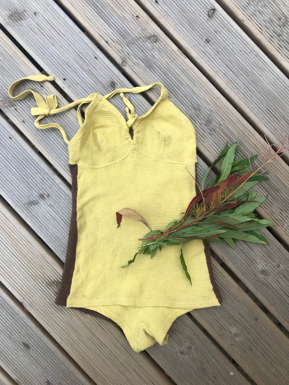 Vintage Wool Swimsuit Sun dress / fits Small - Med