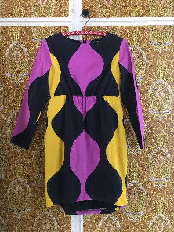 Vintage Marimekko Dress / Purple Yellow Black / si