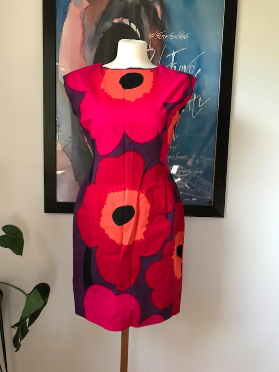 Vintage Marimekko Dress / Pink Red Unikko Flowers