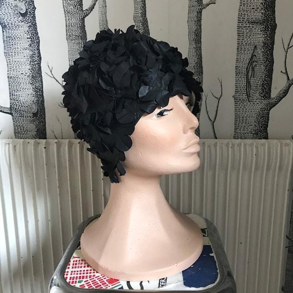 All Black floral swim cap hat / 1950-60 Vintage