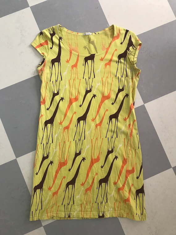 Marimekko vintage dress / yellow Giraffe stretch c