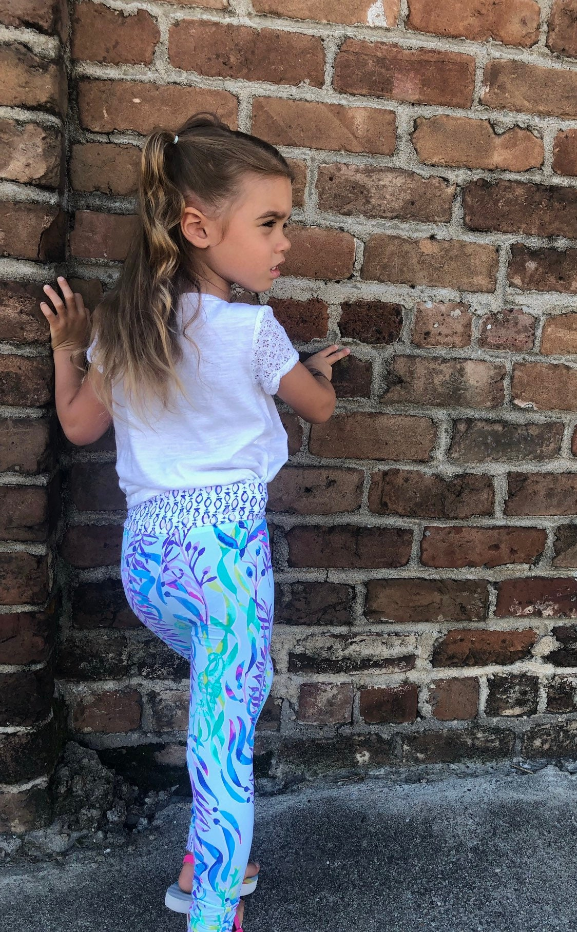 Very Limited Baby Leggings In Lilly Pulitzer Swim Shady Athletic Fabric