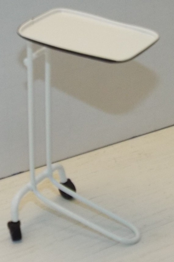 Dollhouse miniature handcrafted Medical Exam stool black metal 1//12th scale