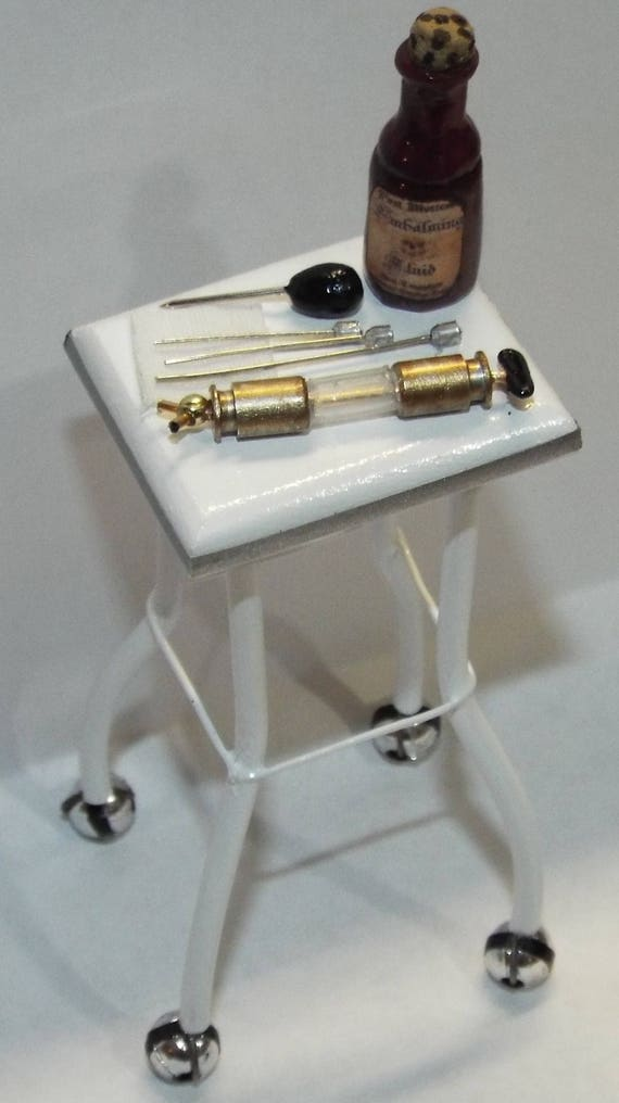Dollhouse miniature handcrafted Medical Stand with Saw Trepanning tools 1//12th