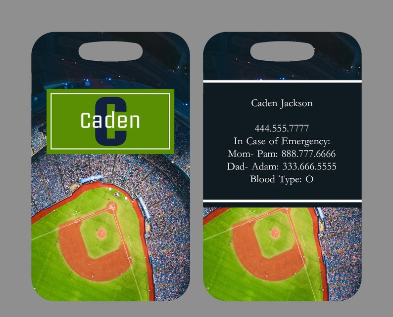Custom Info on Back Baseball Field Baseball Luggage /& Bag Tag LARGE