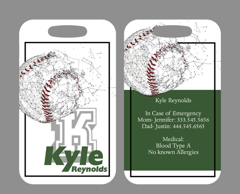 80d53eb90602 Set of 2 Custom Duffle Bag Tags for Baseball Teams, Personalized Luggage  Tag, Sports Luggage Tag, Baseball Bag Tag, Custom Keychain