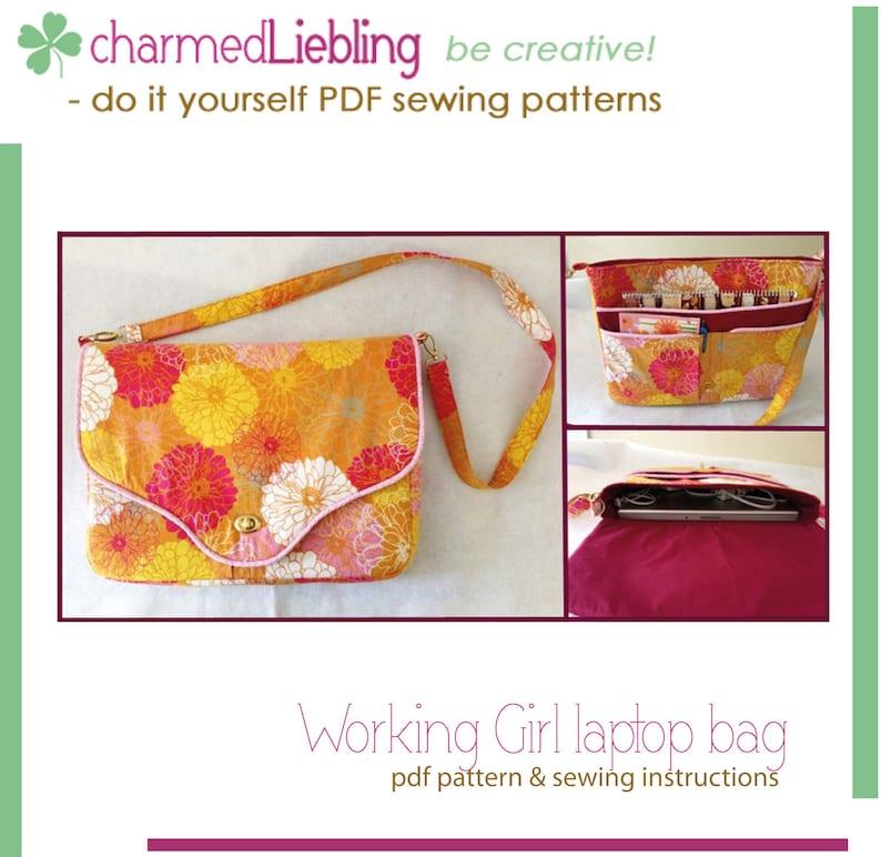 Working Girl laptop bag  PDF sewing pattern image 0