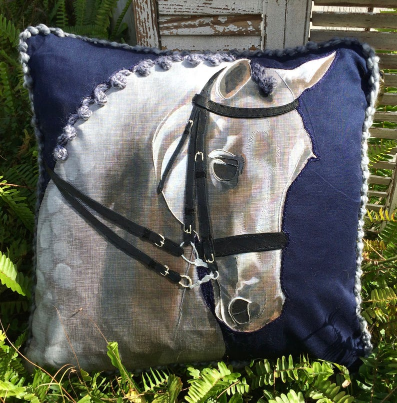 The Equine Portrait Pillow Custom Equestrian Home Decor Etsy