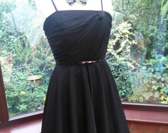 Black chiffon dress full circle skirt Bridesmaid prom clubbing party evening cocktail cruise holiday dress  uk 12- usa size 8
