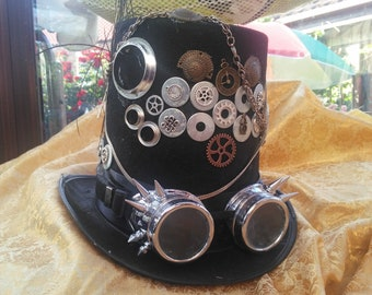 Steampunk Halloween dieselpunk top hat handmade decorated with industrial cogs chains buckles and goggles size 59/60
