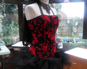 ec0b34631a3 Corset dress wedding burlesque party black red lace trimmed brocade corset lace  up back tutu net skirt and choker necklace