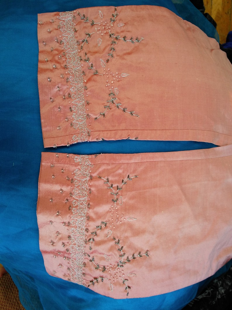 Vintage Pink silk beaded jewelled embroidered all lined pants size 28inch waist 38inch hip Ready to send