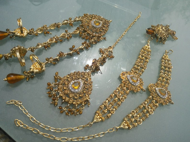 Selection of jewellery Indian handcrafted vintage set in faux gold sent in gift box