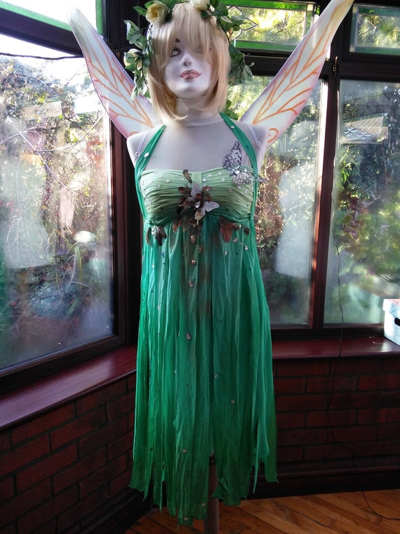Ready to send fairy fairie princess nymph sheer flowing silk chiffon butterfly with jewel trim stage party fairy dress wings and headdress