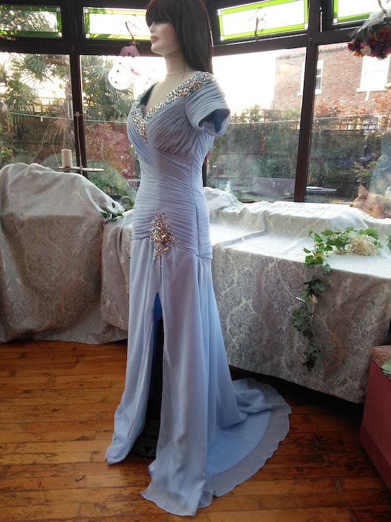 Uk size14 and USA size10 boned shaped corset top wedding bridesmaid prom party evening cocktail dress satin with chiffon overlay