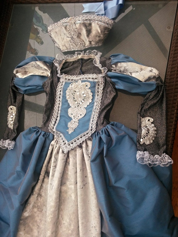 Childrens Custom made Medieval gown Anne Bolyne Tudor with headdress and hooped petticote queen princess stage party banquet